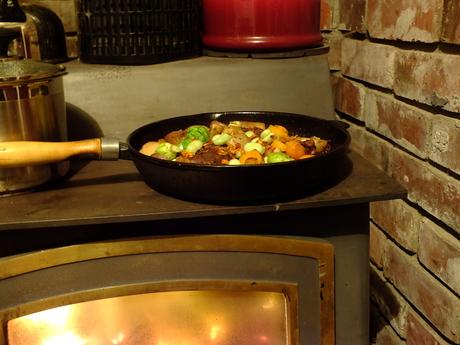 Fire roasted duck leg with seasonal vegetables