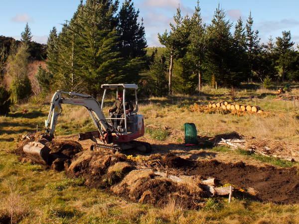 Raised woody swale / hugelkultur construction